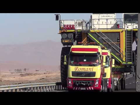 Transport of a mining truck in Atacama, Chile