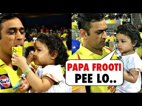 Watch Cute Ziva Dhoni Gives Frooti To Ms Dhoni To Drink In Middle Of Ground - IPL 2018 Moments