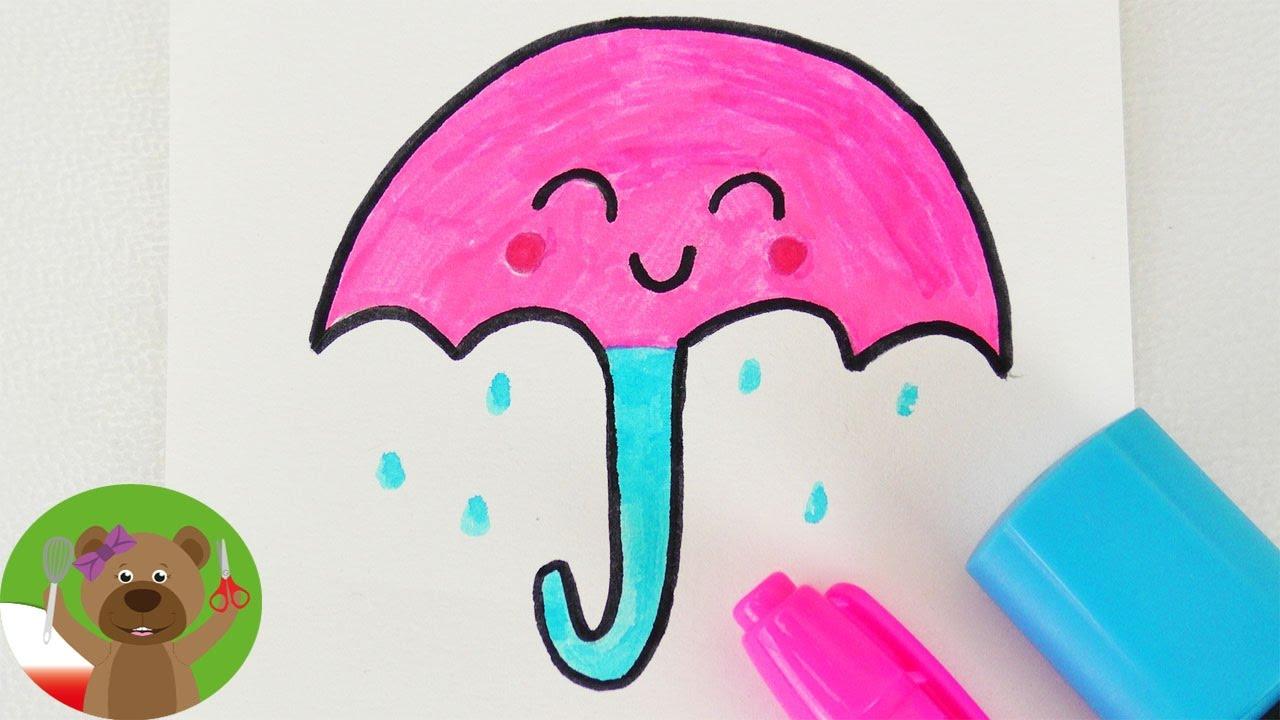 Malowanie i Rysowanie   Parasol Kawaii   prosty obrazek dla dzieci