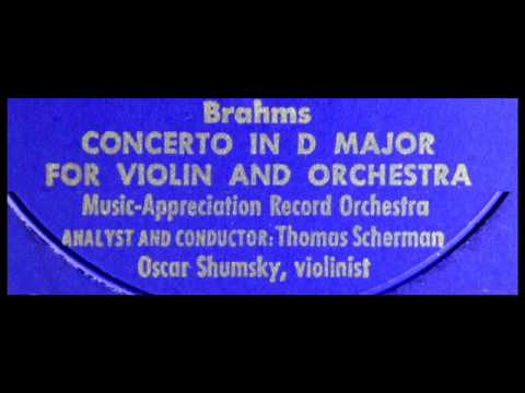 Brahms / Oscar Shumsky, 1956: An Analysis of the D Major Violin Concerto - Book of the Month Club