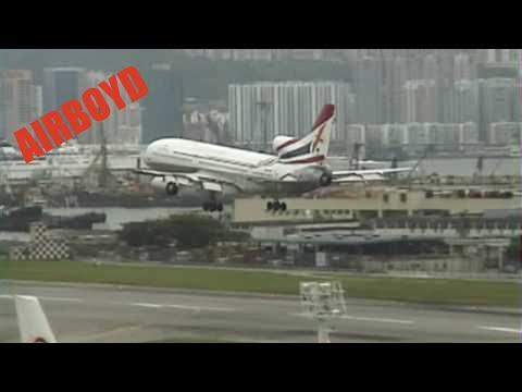 Kampuchea Airlines L-1011 TriStar landing Hong Kong Kai Tak Airport 香港 啟德機場