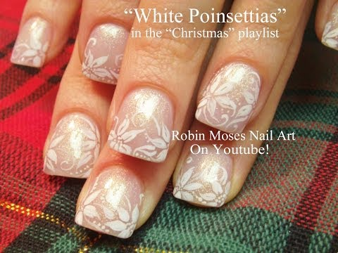 Nail Art - White Christmas Poinsettias
