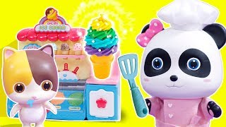 Baby Panda's Ice Cream Shop | Play Doh for Kids | Cooking Pretend Play | Learn Colors | ToyBus
