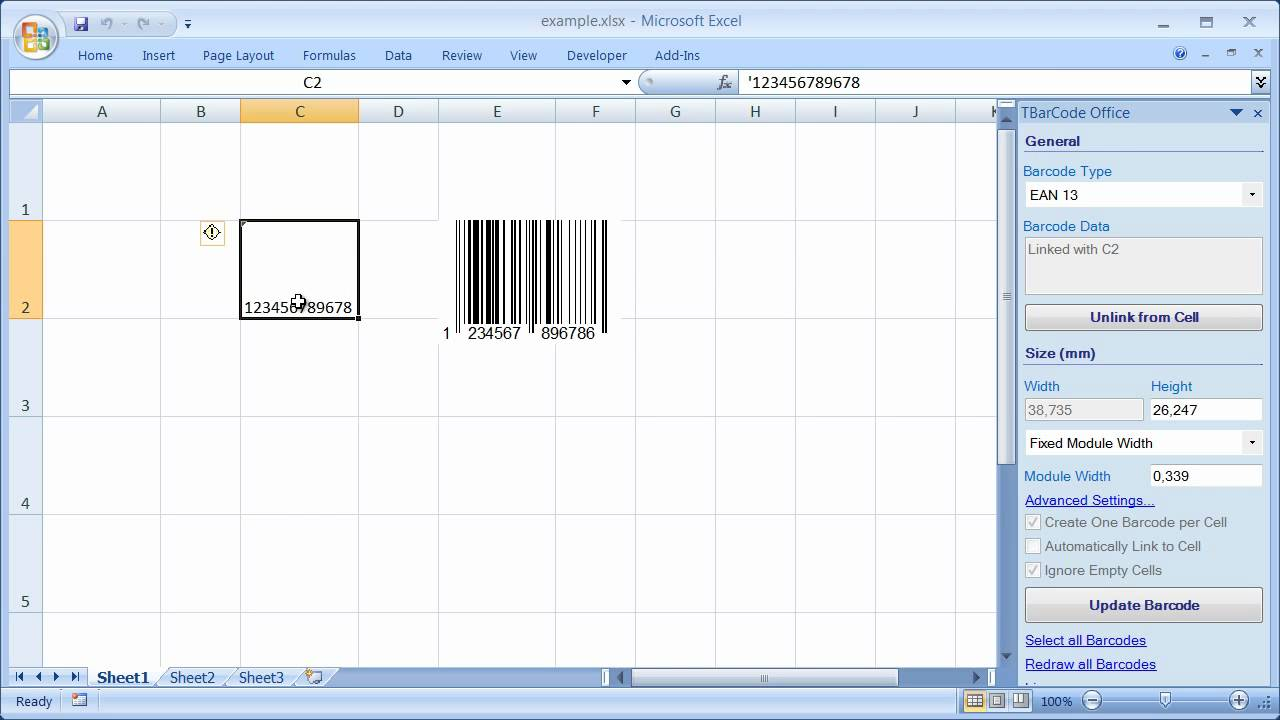 Barcode Add-In for Microsoft EXCEL 2007, 2010 and 2013