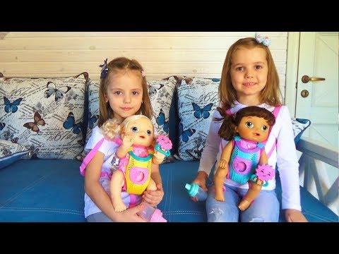 Мисс Кейти и Настя КАК МАМА с куклами Baby Alive Кормят одевают Катают в коляске КУКЛЫ пупсики