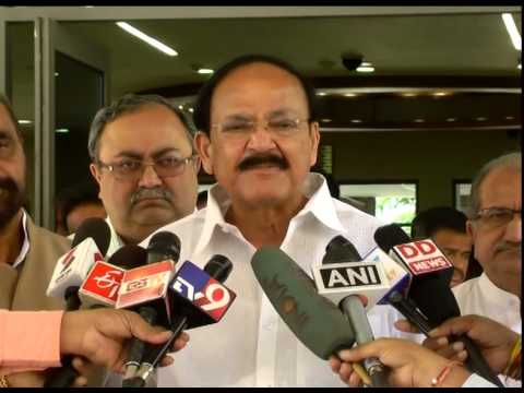 Union Minister Venkaiah Naidu briefs media on his Gujarat visit after meeting CM