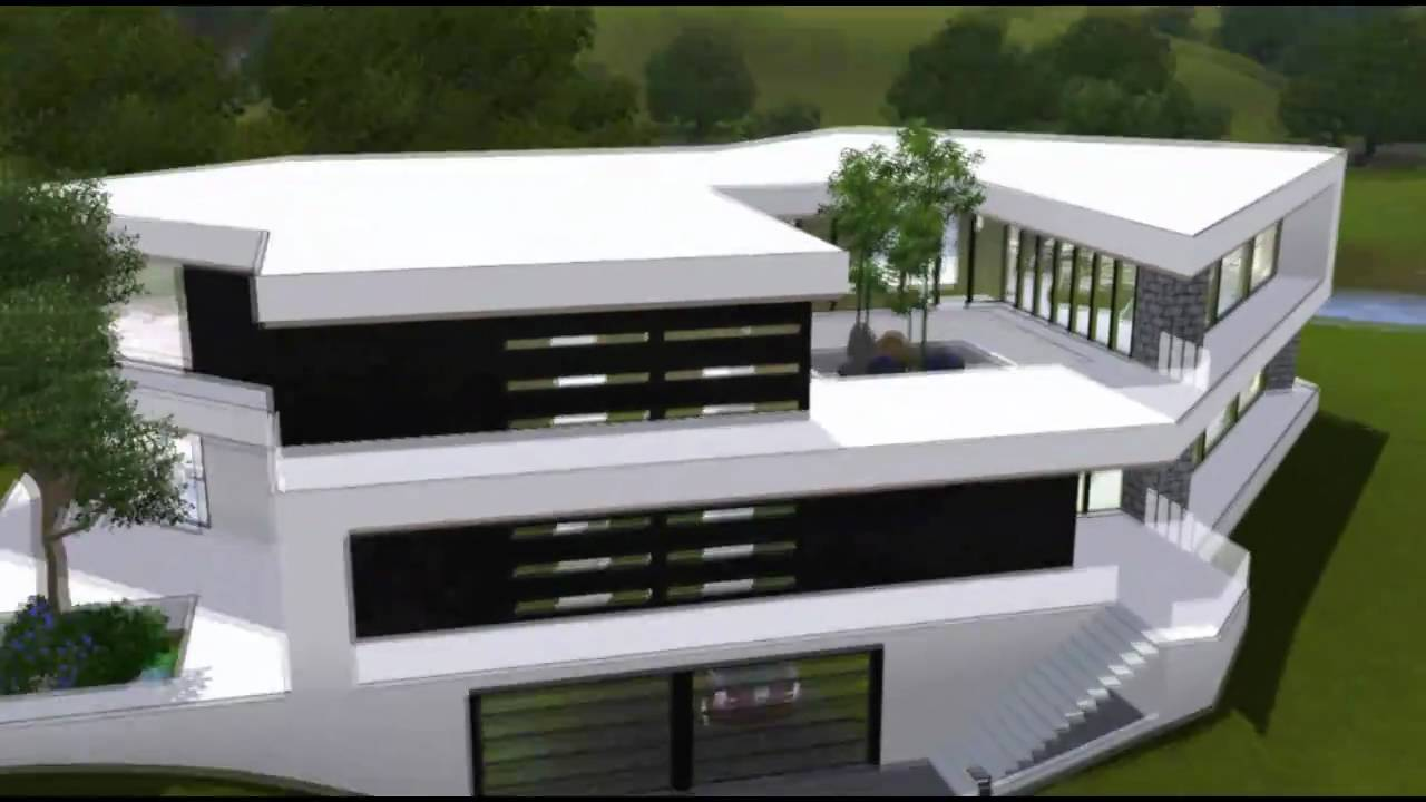 The sims 3 house ultra modern b w mansion hd youtube - The sims 3 case moderne ...