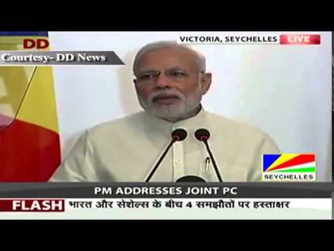 PM Shri Narendra Modi at exchange of agreements with Seychelles