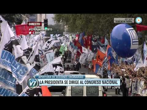 Visión 7 Apertura de Sesiones Ordinarias: llegada de la presidenta