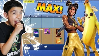 Surprising Little Brother With Fortnite Season 8 *Max* Battle Pass! He Freaked Out!