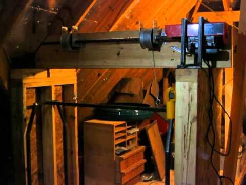 Home made garage attic lift hoist elevator dumb waiter for Garage elevator lift