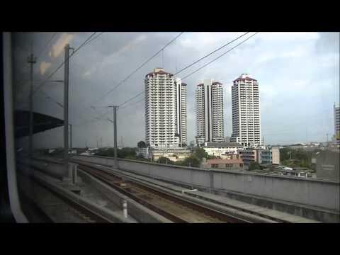 Express train full trip from Phayathai to Suvarnabhumi airport on right hand side HD