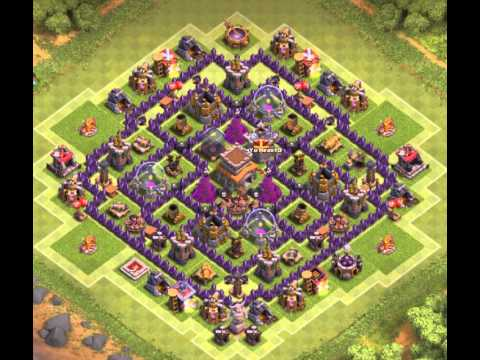 Coc town hall 8 trophy war base 4 mortars youtube