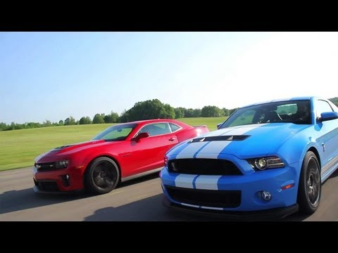 Showdown - 2012 Chevrolet Camaro ZL1 vs. 2013 Ford Mustang Shelby GT500 - CAR and DRIVER