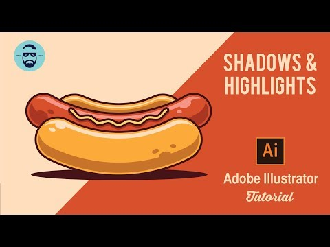 How to use Shadow and Highlights in Adobe Illustrator CC 2018 , Fast Hot dog vector tutorial.