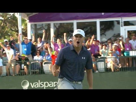 Jordan Spieth's magically holes his clutch par putt at Valspar