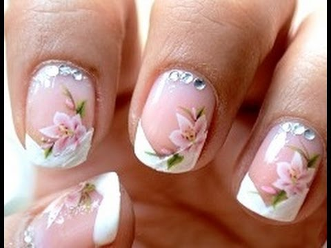 Water decals + French Manicure ! Easy Nail Art Designs