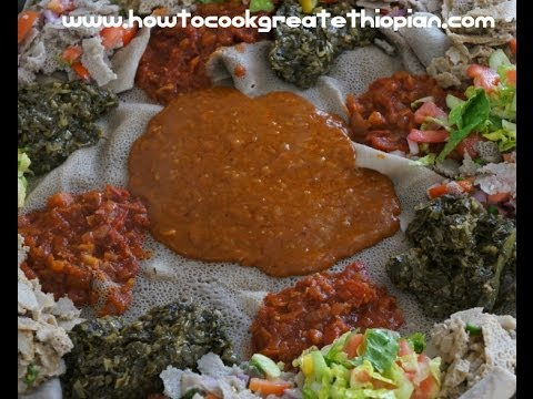 Ethiopian Cooking – Beyeyanetu Vegan food being served gomen shiro injera Ethiopia East Africa