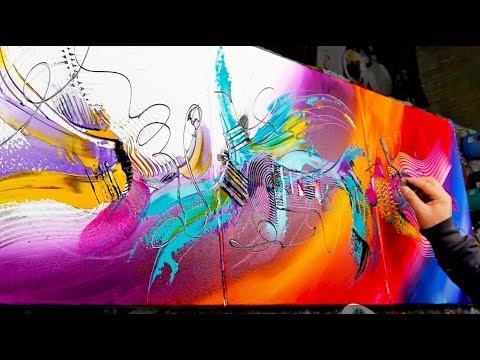 Abstract Painting Demo Acrylics using brush, knife - Love Buzz - John Beckley