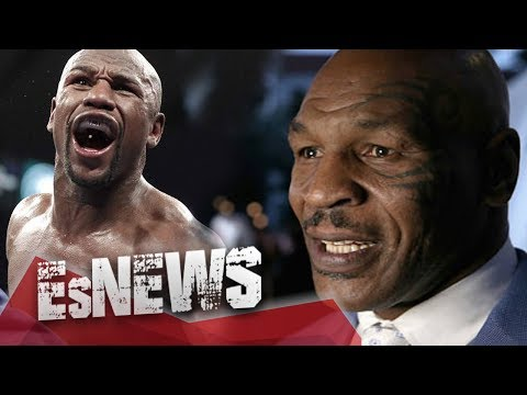 Mike Tyson Swings At Floyd Mayweather & Floyd Doesn't Even Flintch  - EsNews Boxing