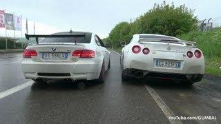 VERY LOUD Meisterschaft Nissan R35 GT-R vs BMW E92 M3 w/ F1 SuperSprint Exhaust!