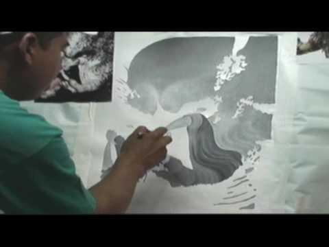 Aerografía sobre tela (Pintando Monstruo Depredador Parte 2)