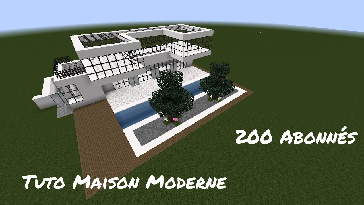 Tutoriel fr minecraft maison moderne 1 7 2 1 8 1 for Plan maison minecraft moderne