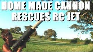 Home made tennis ball cannon saves RC Jet from tree
