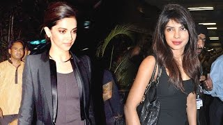 Deepika Padukone & Priyanka Chopra Fly For Usa Spotted on New Year Eve- HD