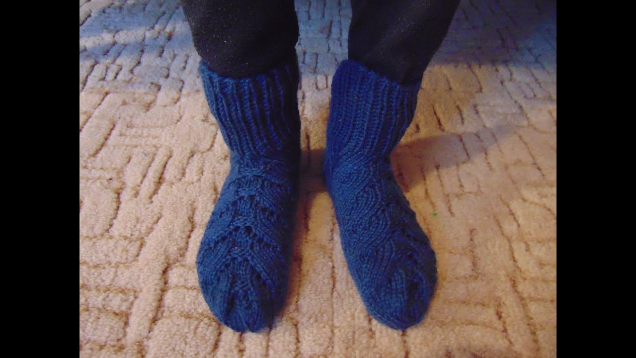 Вязание носок с косами 515