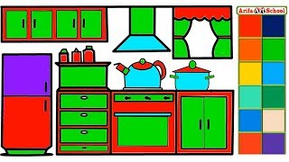How to Draw Kitchen for Kids.Kitchen Coloring Page & Drawing for Children.Kitchen Room Coloring Page