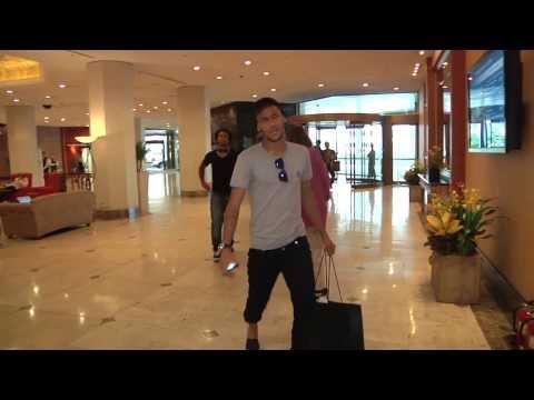 Brazil players Neymar, Dani Alves, David Luiz arriving in South Korea