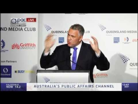 Joe Hockey delivers an address to the Queensland Media Club