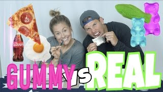 🍄GUMMY FOOD vs REAL FOOD CHALLENGE🍕!!! SHARK, SLUGS, GROSS!🍔
