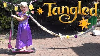 Disney Princess Rapunzel has FUN playing outside her Tower with Cool Toys ! Tangled Movie Fun !