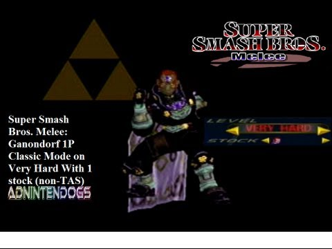 Super Smash Bros. Melee: Ganondorf 1P Classic Mode on Very Hard With 1 stock (non-TAS)