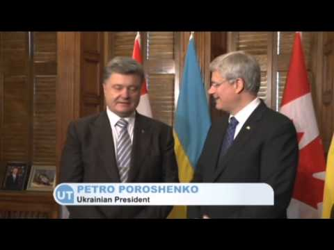 Poroshenko in Canada: Canadian PM Stephen Harper backs Ukraine against Russian invasion