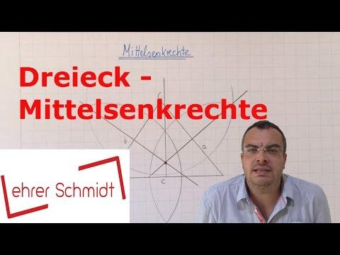 Dreieck - Mittelsenkrechte  konstruieren   Geometrie   Mathematik   Lehrerschmidt