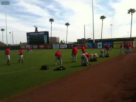 Torii Hunter, Hideki Matsui, Bobby Abreu for the Angels, Spring Training in Phoenix, Arizona 2010