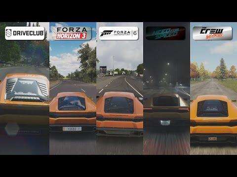 DriveClub vs FH3 vs Forza 6 vs NFS 2015 vs The Crew - Lamborghini Huracan Sound Comparison