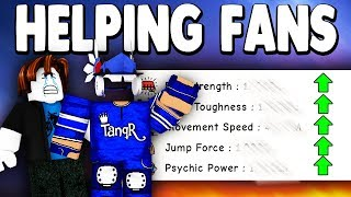 USING AND HELPING FAN ACCOUNTS *TROLLING* | Super Power Training Simulator (ROBLOX)