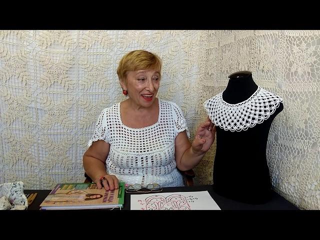 """Вязание крючком для детей от О.С. Литвиной. Воротничок """"Паутинка"""""""