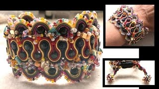 Beading4perfectionists : Soutache figure 8 part 2.Adding 2nd layer and embelishing with beads