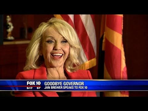 Saying goodbye: Governor Jan Brewer speaks to FOX 10