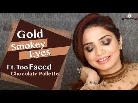 Gold Smokey Eyes Makeup Tutorial   Too Faced Chocolate Bar Palette Review   Krushhh By Konica