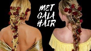 HAIR TUTORIAL   jasmine sanders/golden barbie 2018 met gala flower hairstyle  goldilonglocks