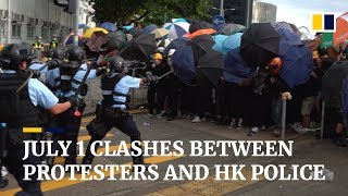 Violent clashes between Hong Kong protesters and police on July 1st