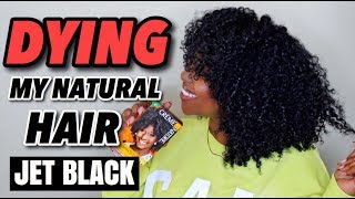 DYING MY NATURAL HAIR JET BLACK AT HOME!!!! | BOX DYE!