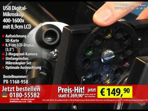 USB Digital-Mikroskop 400-1600x mit 8.9cm LCD. Aufnahme auf SD-Karte