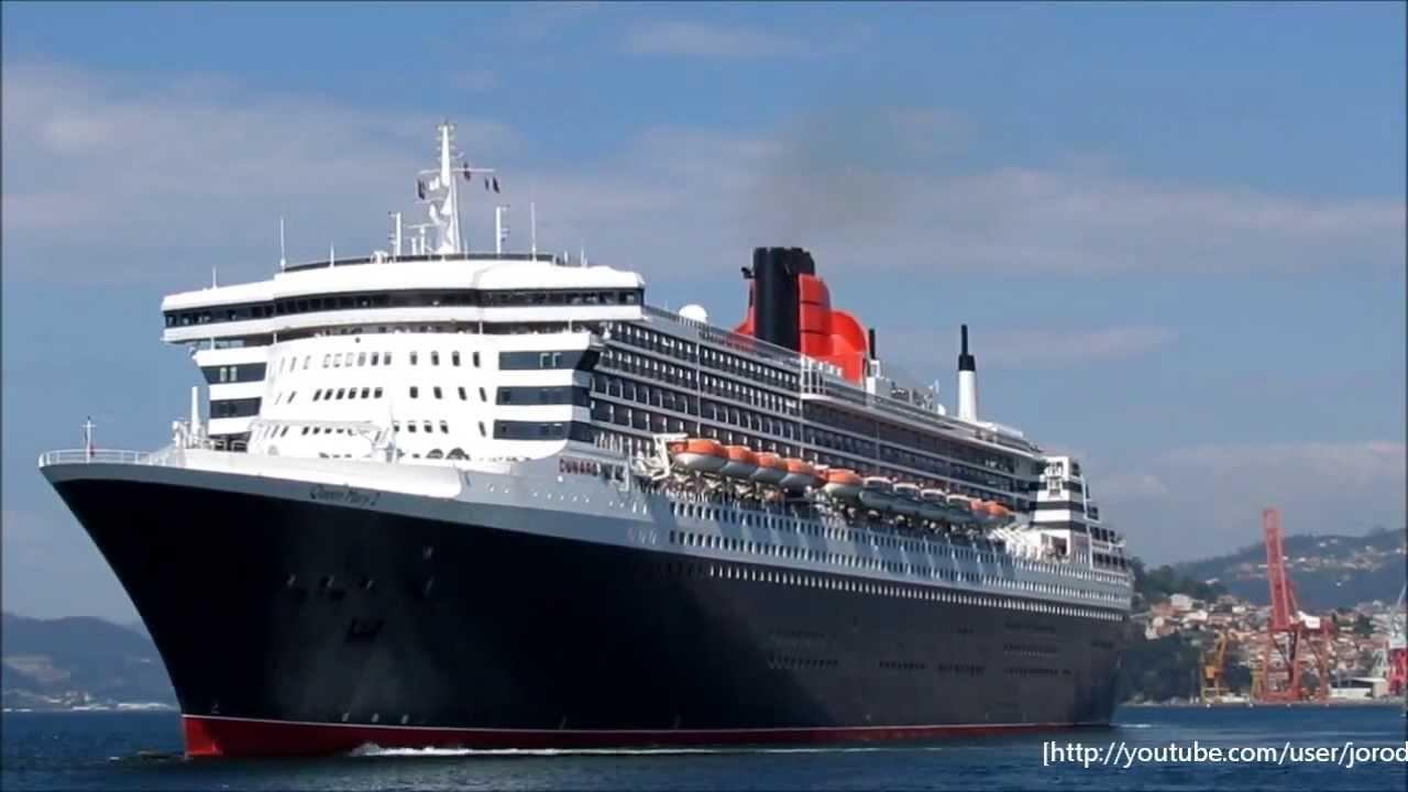 Cruise ship queen mary 2 departs vigo youtube for Garderobe queen mary 2